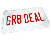 Gr8 Deal License Plate Great Price on a Used or New Car — Stock Photo