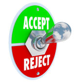 Accept vs Reject Switch of Acceptance or Rejection — Stock Photo