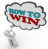 Person tycker om hur man vinner strategi trodde moln — Stockfoto