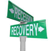 Recession Recovery Street Signs Economy Growth — Stok fotoğraf