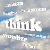 Think Words in Sky - Imagine New Ideas and Dreams — Stock Photo