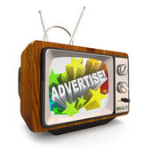 Advertise Marketing on Old Fashioned TV Television — Stok fotoğraf