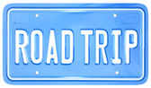 Road Trip Words on Vanity License Plate Holiday Travel — Stockfoto