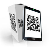 Smart Phone Scanning QR Code on Product Box for Info — Stock Photo