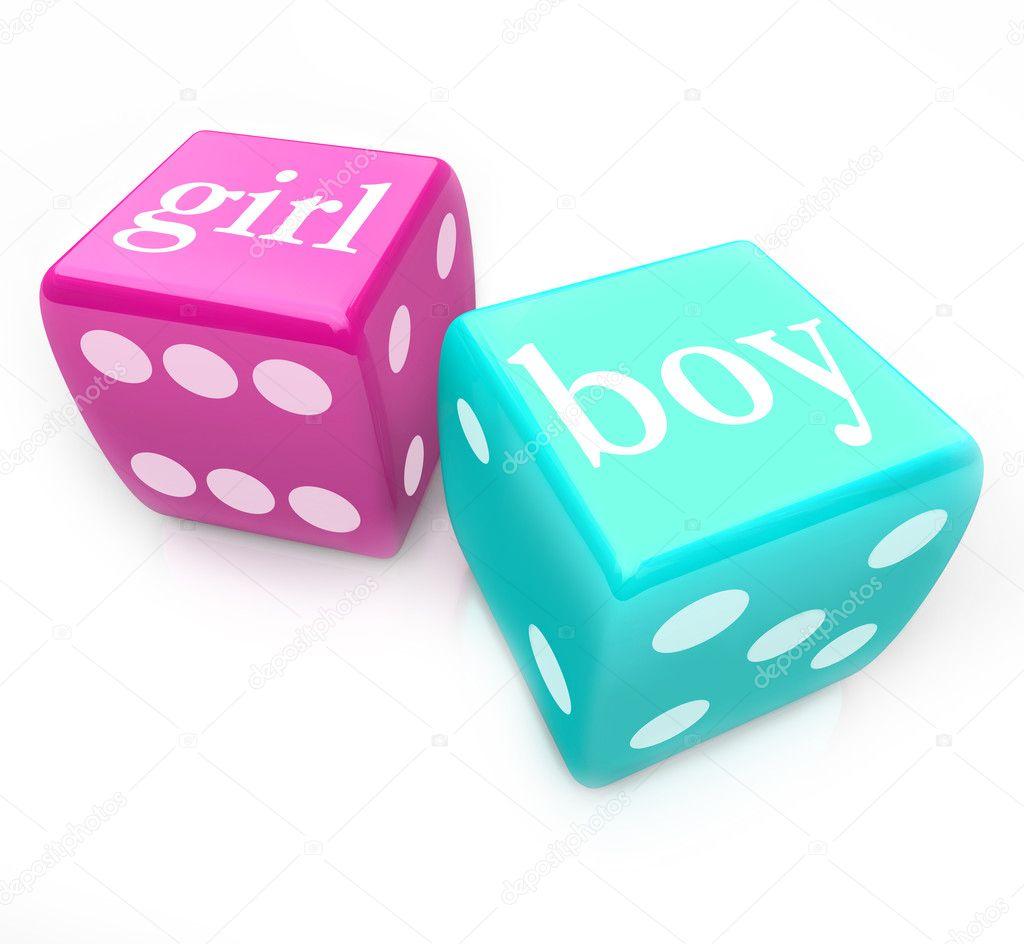 De dobbelstenen rollen jongen of meisje baby leveren tijdens de zwangerschap stockfoto - Twee meisjes en een jongen ...