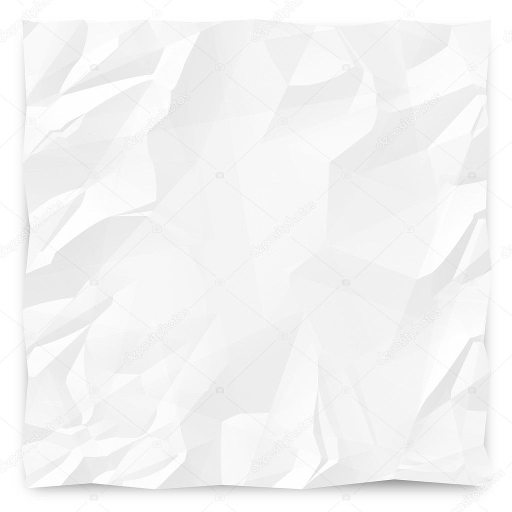 A white, wrinkled piece of paper background for slides, brochures and presentations. — Stock Photo #7653463