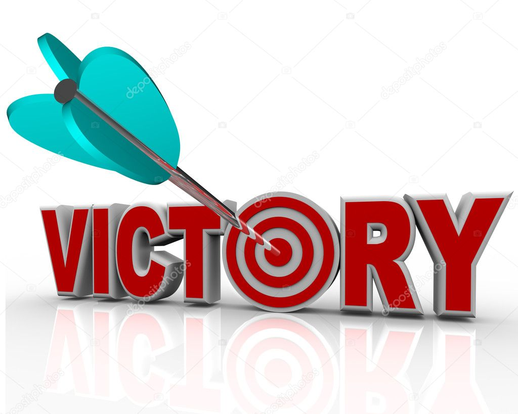 Victory Arrow in Word Succeed Triumph in Competition ... The Word Succeed