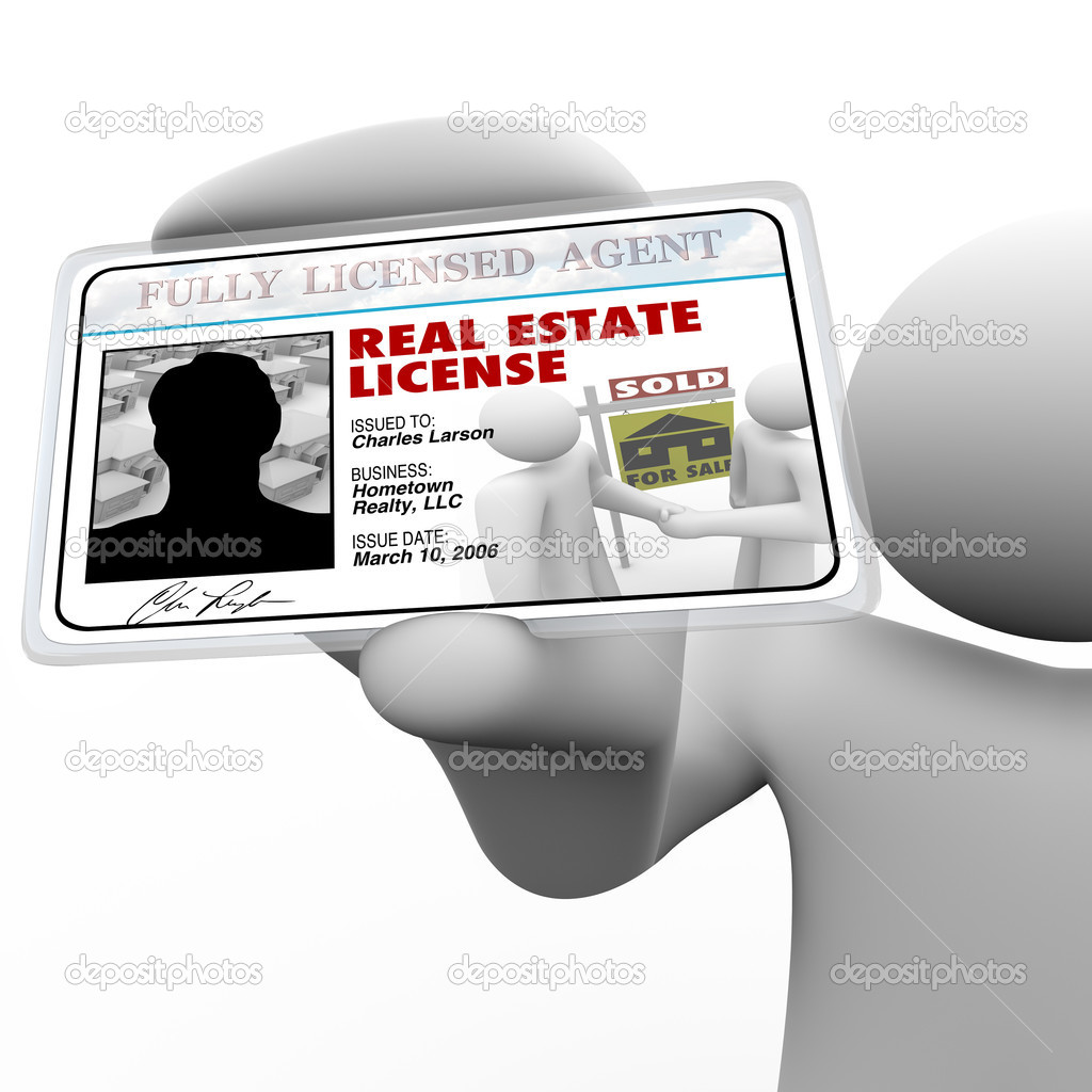 A real estate agent holds a laminated license proving he is certified and licensed by the proper authorities to do business in buying or selling property for yo — Stock Photo #7653736
