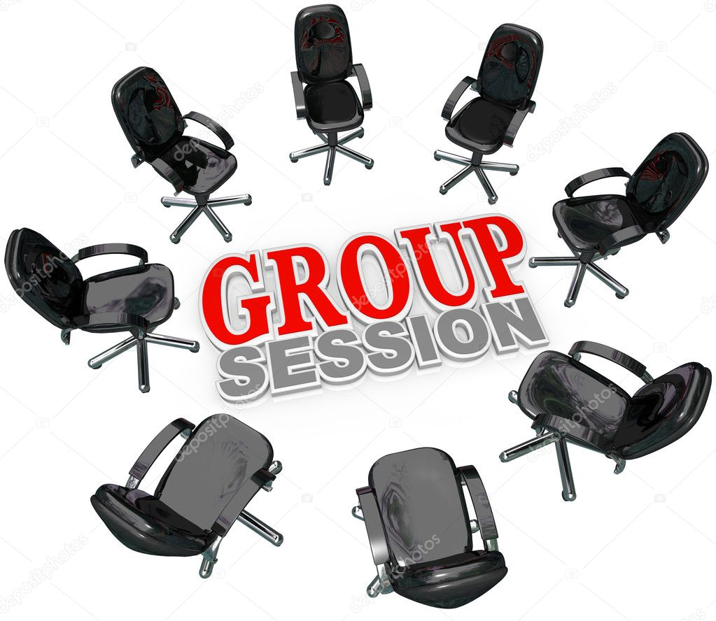 A number of chairs gathered in a circle around the words Group Session for a meeting or interaction with several for therapy or business brainstorming or — Stock Photo #7653933