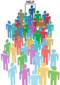 Crowd line up HELP WANTED door — Stock Vector
