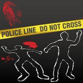 Crime scene tape corpse chalk outline — Stock Vector