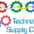 Gears Technology Supply Chain Management Border — Векторная иллюстрация