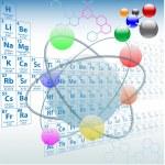 Atomik elemanları periyodik tablo kimya tasarım — Stok Vektör