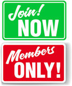 Website Members Only or Join Website signs — Stock Vector