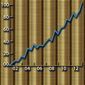 Investment growth wealth money gold coins chart — Stock Photo