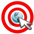 Internet arrow clicks targeted world bulls eye target — Stockvectorbeeld