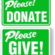 Please Donate and Give Green Sign Set - Stock Vector