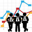 Business Men Sales Team Profit Growth Graph Chart — Stock vektor
