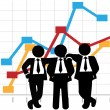 Stock Vector: Business Men Sales Team Profit Growth Graph Chart