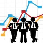 Business Men Sales Team Profit Growth Graph Chart — Stock Vector