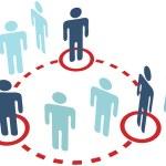 Key insider social network circle connection — Stock Vector