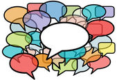 Talk in colors speech bubbles social media — Stockvector