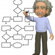 Stock Photo: Programing genius draws smart flowchart program