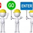 Construction 3D person STOP GO ENTER signs - Stock Photo