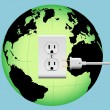 Stock Vector: ENERGIZE EARTH electric plug in outlet Energy Globe