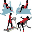 Royalty-Free Stock Vector Image: Women on gym fitness exercise machines