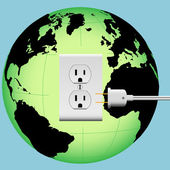 ENERGIZE EARTH electric plug in outlet Energy Globe — Stock Vector