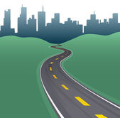 Highway path curve city buildings skyline — Stockvector