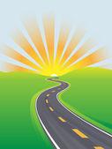 Highway travel bright sky morning future — Stock Vector