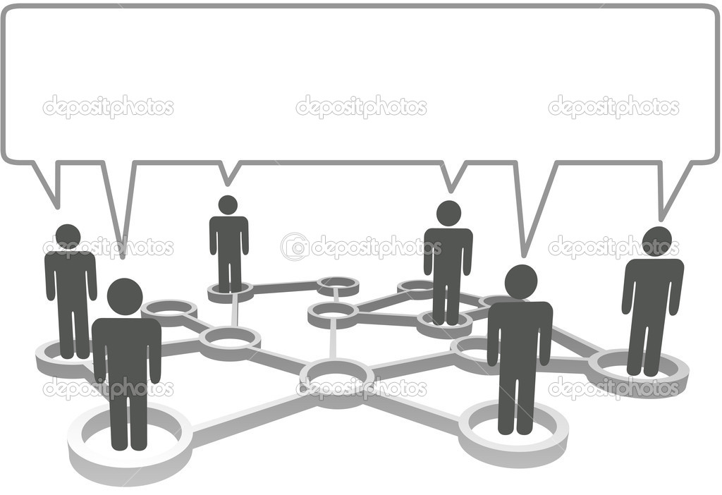 Connected symbol in network nodes communicate in a speech bubble. — Stock Vector #7832341