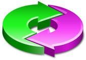 Ciclo proceso círculo flechas 3d — Foto de Stock