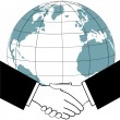 Global business trade nations agreement handshake icon — Stock Vector