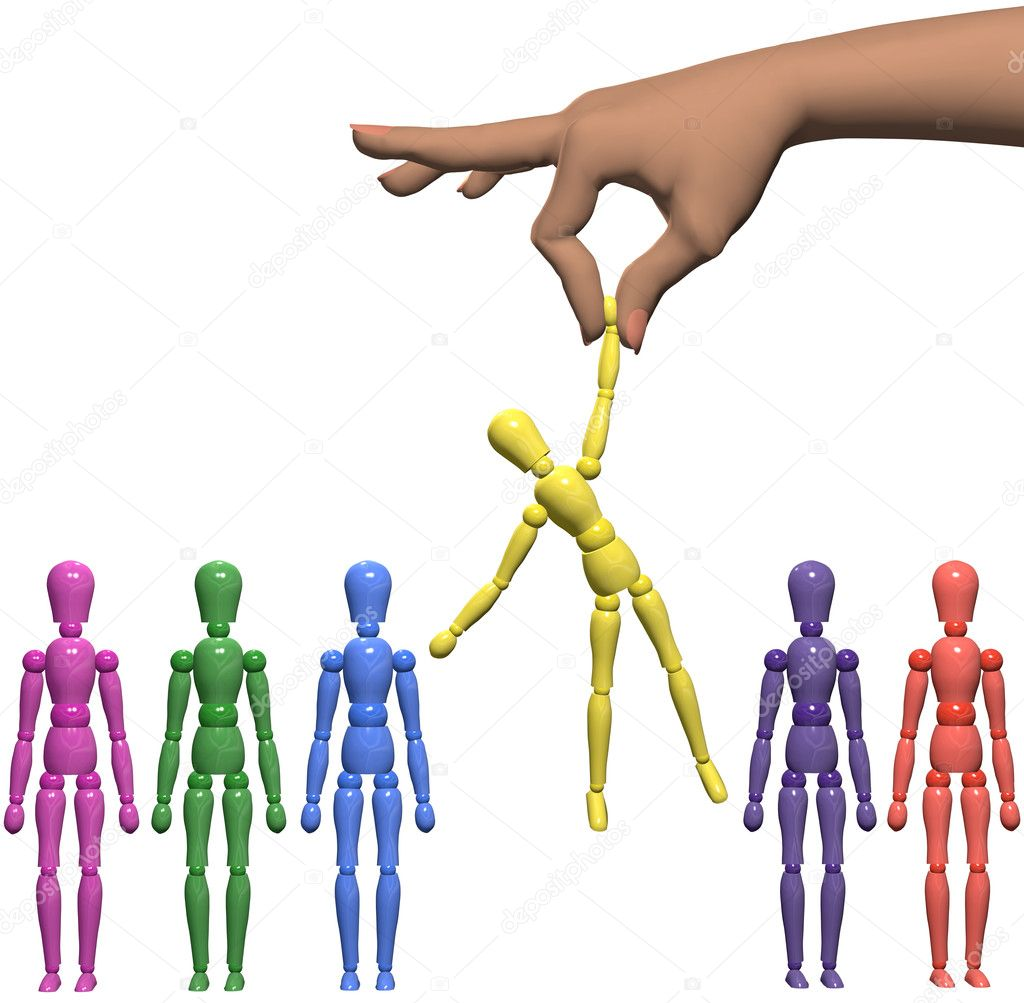 A female hand to find and choose a mannequin from a line of shiny artist dummies. — Stock Photo #7960201