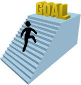 Stick figure person climb steps achieve goal — Stock Vector