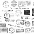 Set of Vintage Postal Marks - Stockfoto