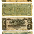 Old Confederate Five and Ten Dollar Bills — ストック写真