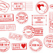 Set of 15 Valentine's Day Stamps — Foto Stock