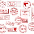 Set of 15 Valentine's Day Stamps - Stock Photo