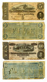 Old Confederate Five and Ten Dollar Bills — Stock fotografie