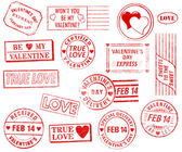 Set of 15 Valentine's Day Stamps — Stock Photo