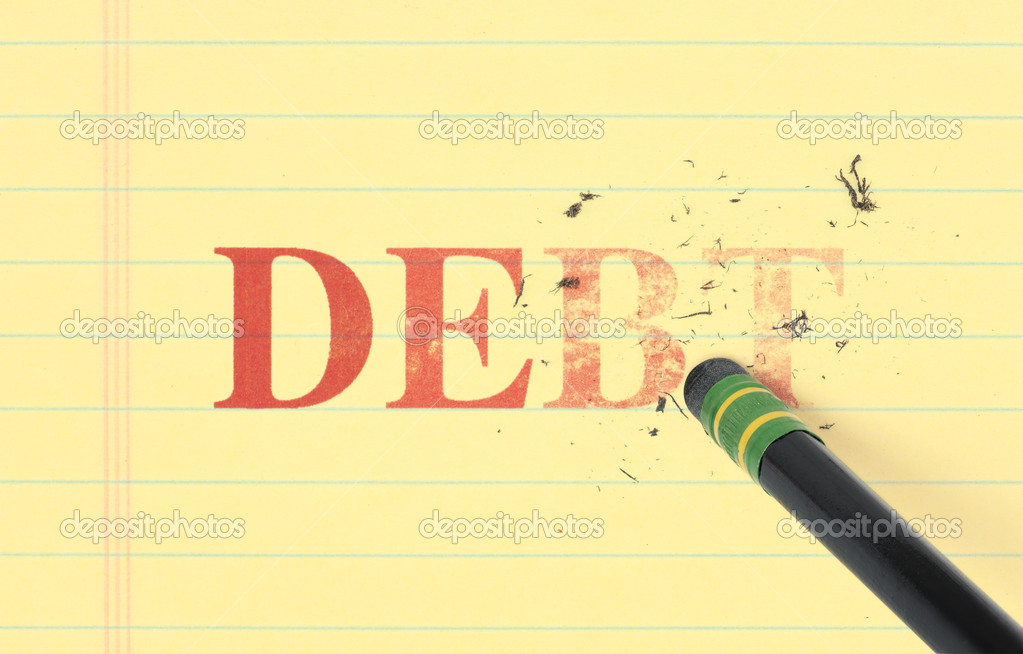 Close up of a black pencil erasing the word, 'debt' printed in red on yellow ledger paper.  Stock Photo #7312750