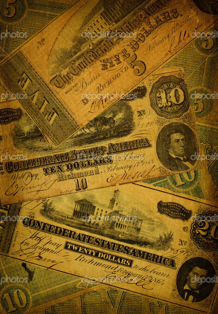 Collage of old, dirty and very worn five, ten and dollar bills printed by the Confederate states of America in 1864 during the Civil War. — Stock Photo #7335087