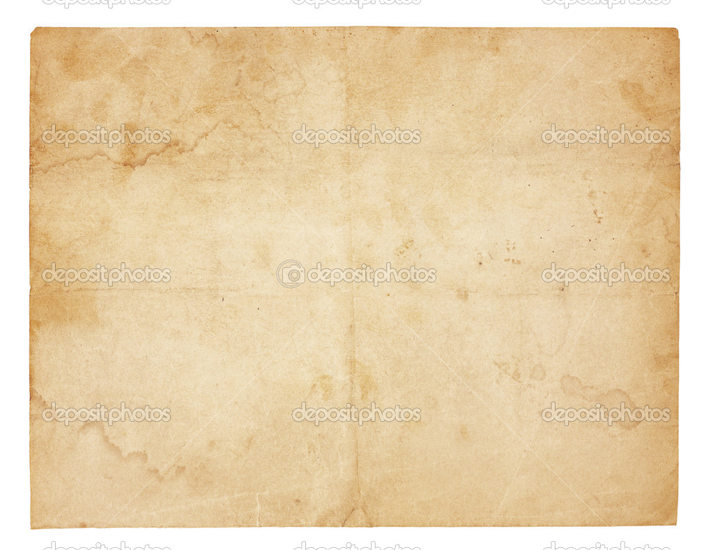 Aged and worn paper with creases, stains and smudges. Isolated on white. Includes clipping path. — Stock Photo #7335131