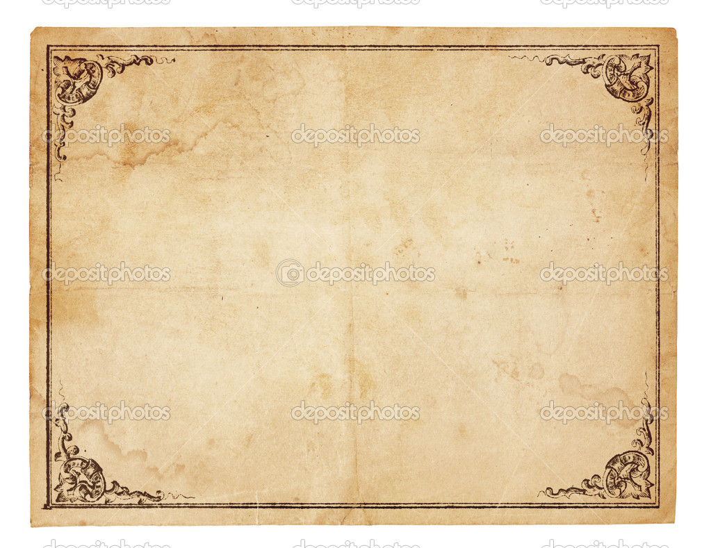 Aged, yellowing paper with creases, stains and smudges. Blank except for printed border with ornate corners. Isolated on white. Includes clipping path. — Stock Photo #7335140