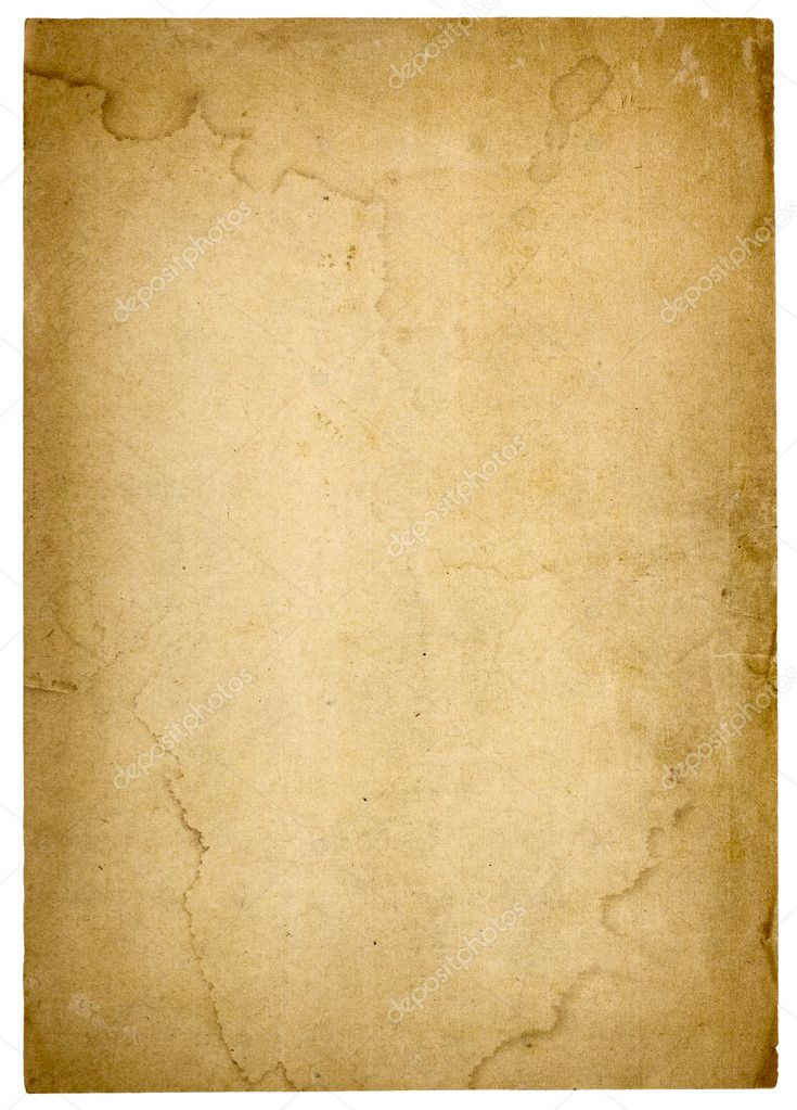 Aged, worn paper with abrasions, water stains and  rough edges. Blank with room for text or images. Isolated on White. Includes clipping path. — Stock Photo #7335155