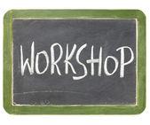 Workshop blackboard sign — Stock Photo